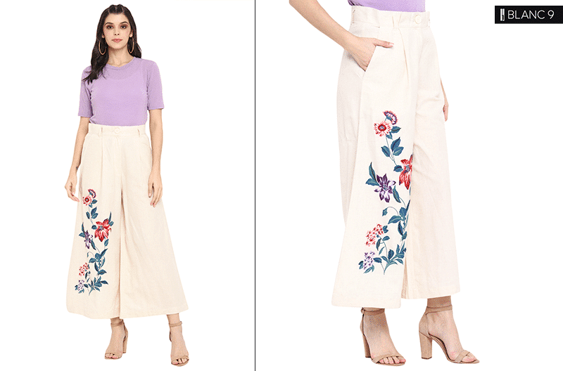 Flared Printed Trousers